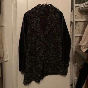 Club Monaco tweed jacket with real-leather sleeves